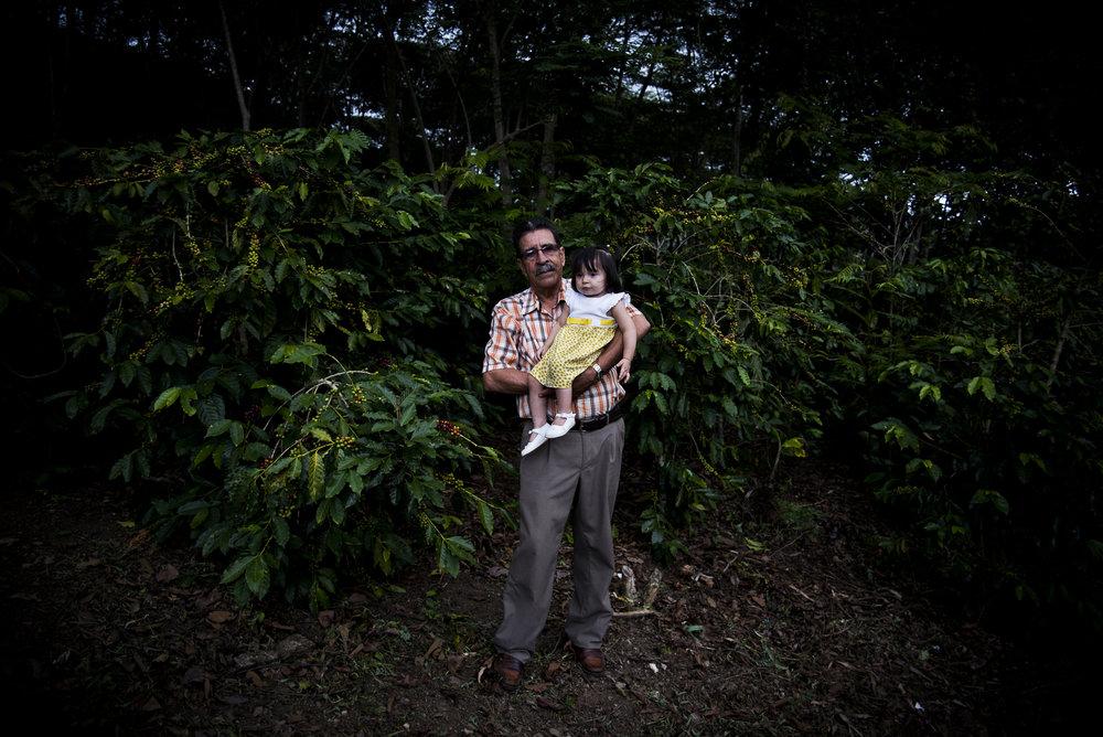 Ciro Navarro, habitante de Sacramento (Magdalena) sostiene a una de sus pequeñas hijas rodeado por arbustos de café. Cuando se desplazo en 2001 lo perdió todo. Al retornar y con mucho trabajo a podido recuperar su finca y donde cosechaba hoja de coca ahora cosecha café.