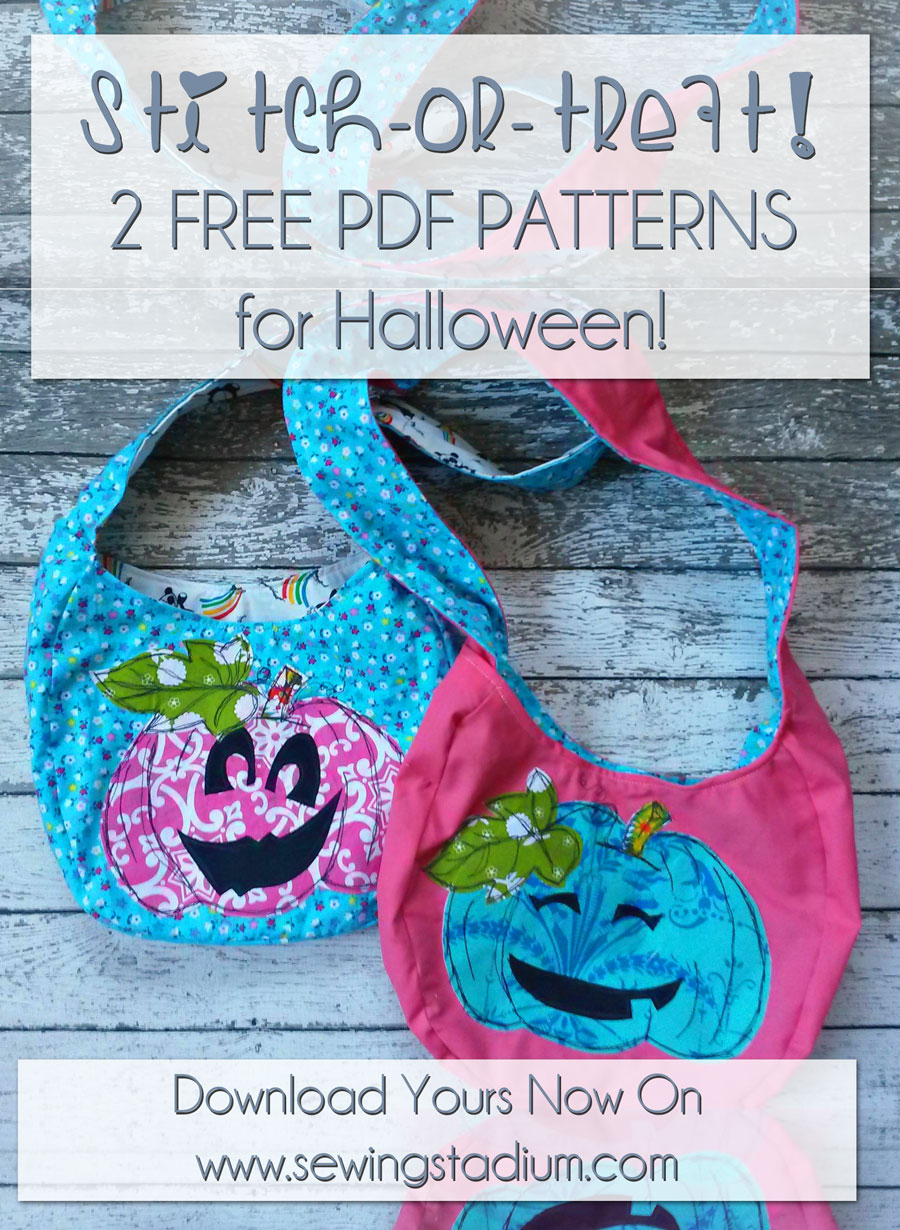 Paisley Roots Reversible Halloween Treat Bag; StitchArt Free Motion Applique Pumpkin with 3 Mix-And-Match Faces (Or, Draw Your Own!)