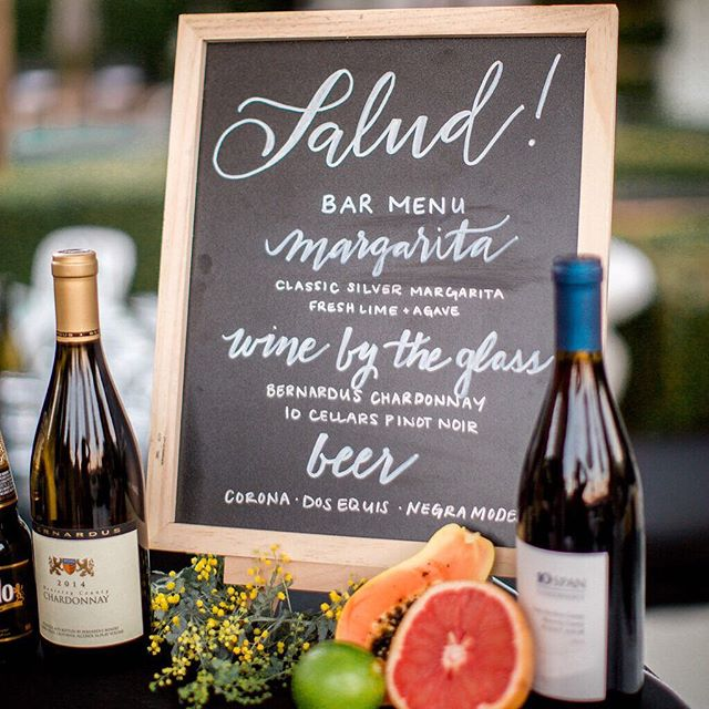 Salud! Loved all the custom signage made by this talented bride for her bar set-up @itschristiowen