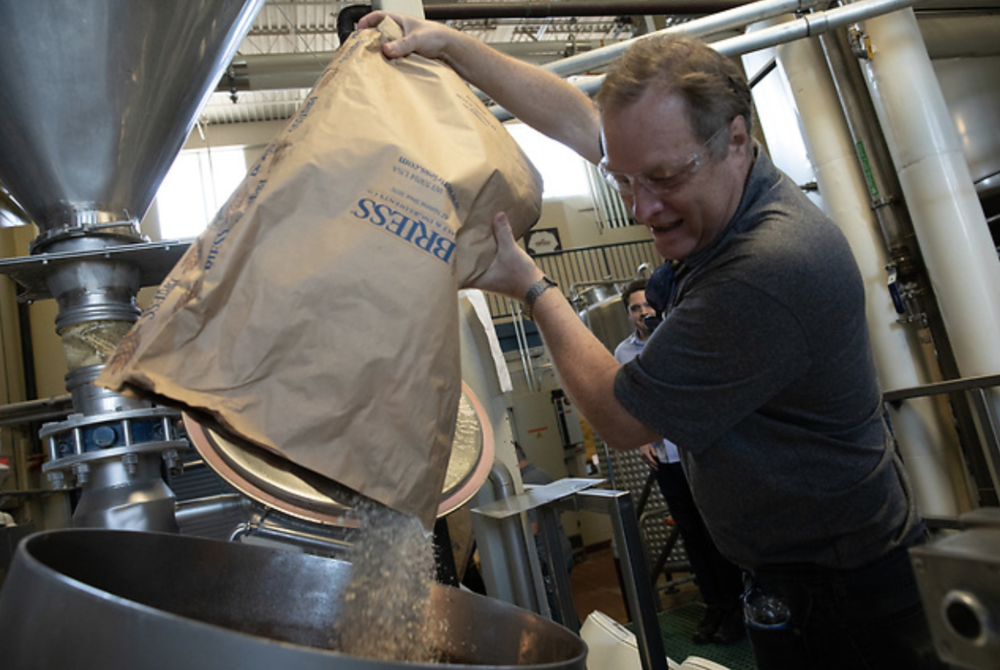 Jeff More helping create the 35th Anniversary Ale at Bell's Brewery
