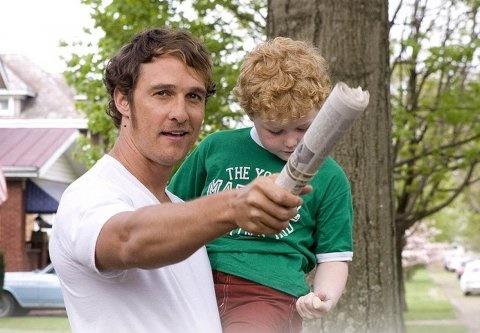 Publicity Shot of Matthew McConaughey & BNB Talent Dalton on the set of We Are Marshall.