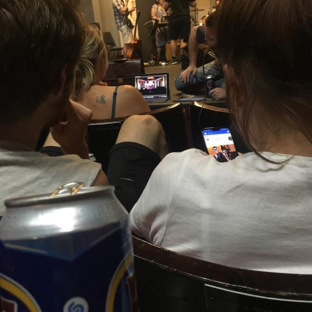 Watching our tech rehearsal over a cold beer. It's not over yet, but what a wonderful break this is 😅