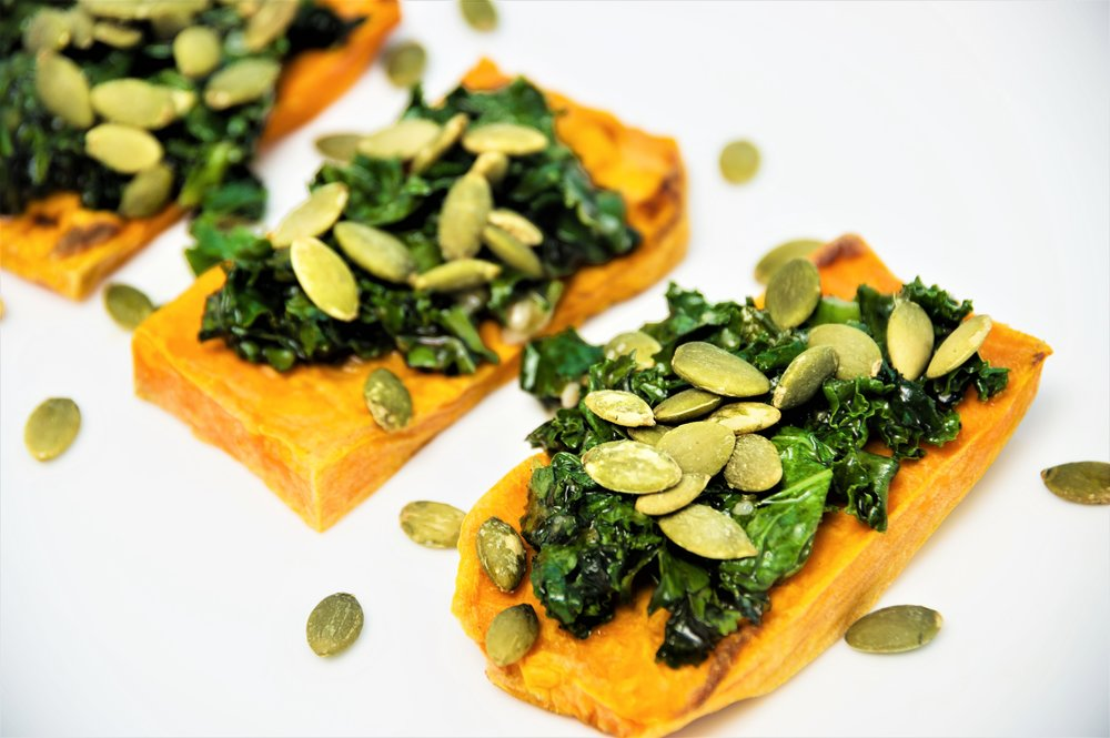 Sweet Potato Kale Toast - For your next #ToastTuesday, try this sweet and savory vegetarian toast created by Cynthia Sass, RD.