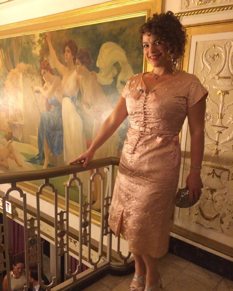Spotted at the Ivy awards wearing a 1950's peach brocade dress from Via's Vintage.