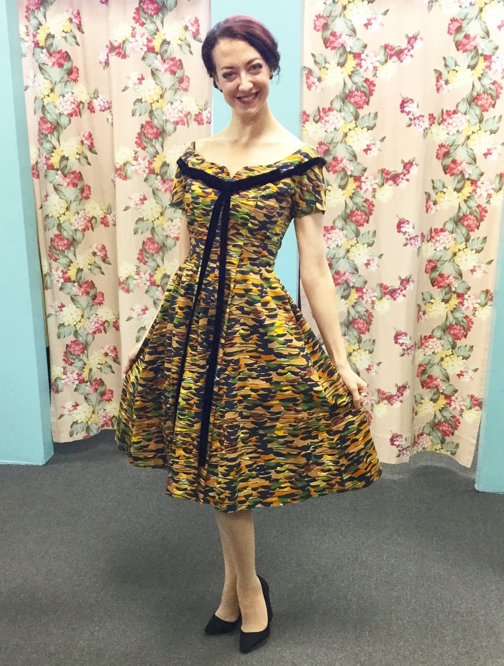 1950's Suzy Perette multi colored dress with black velvet ribbon trim.  Model @retroviolette