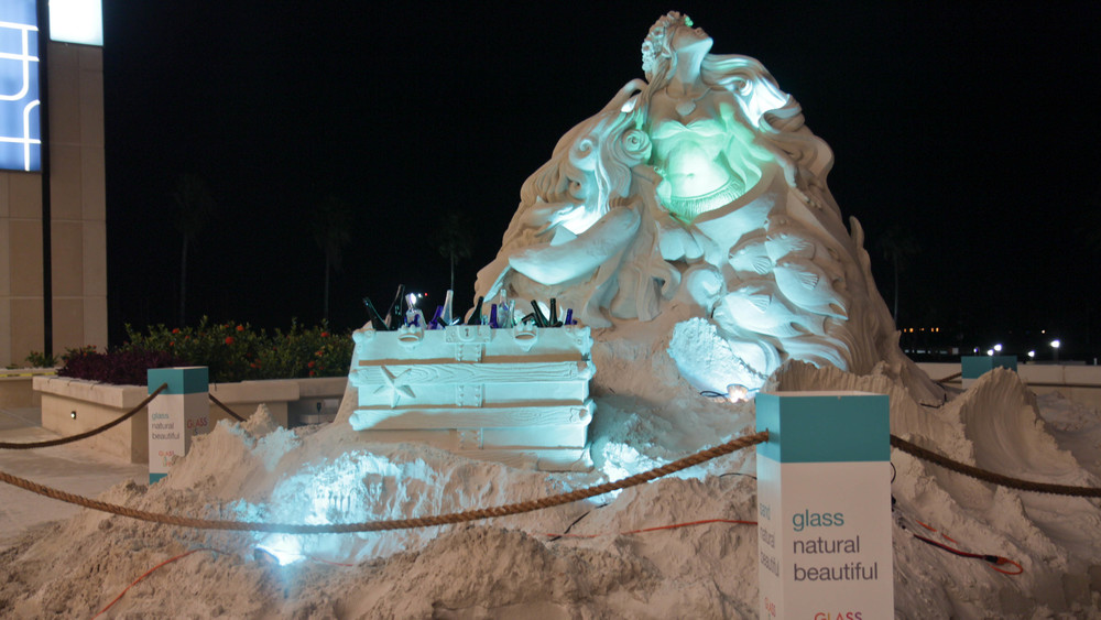 A sixty ton sand sculpture at the BLUE Ocean Film Festival for Glass is Life ®. Glass is simply made from sand, soda ash and fire. Good stuff.