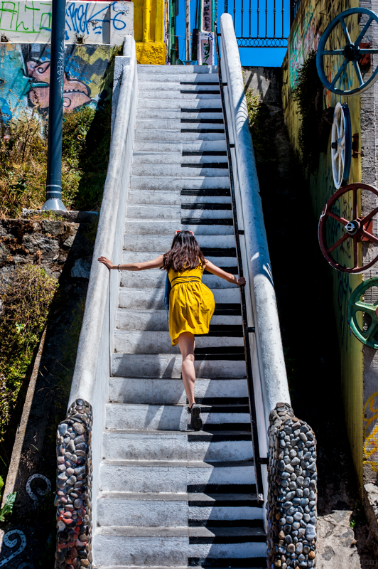Piano stairs off of Beethoven Street. Ann is trying to play something...