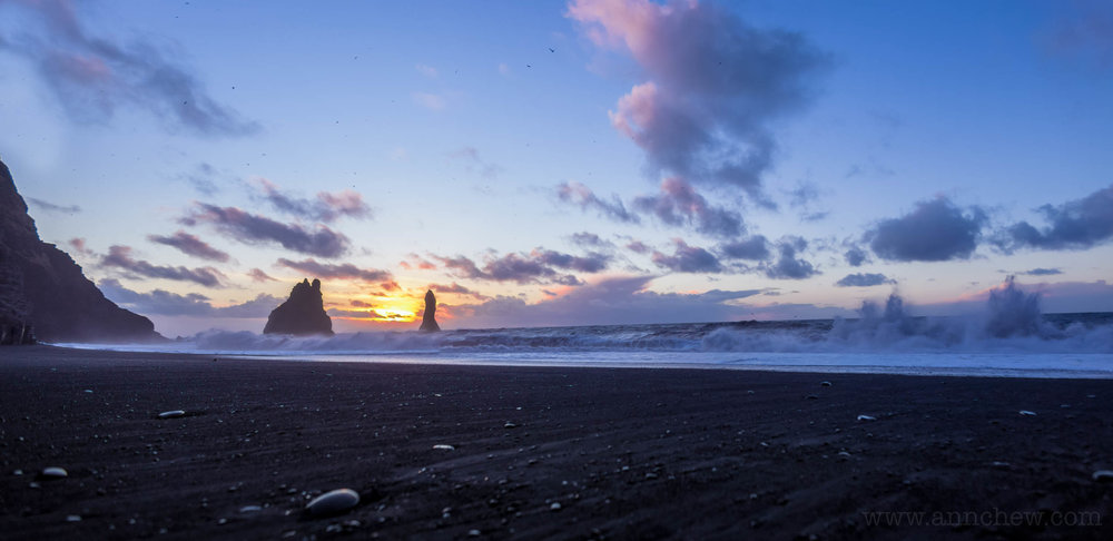 Sunrise over Reynisfjara, at 9:49AM.