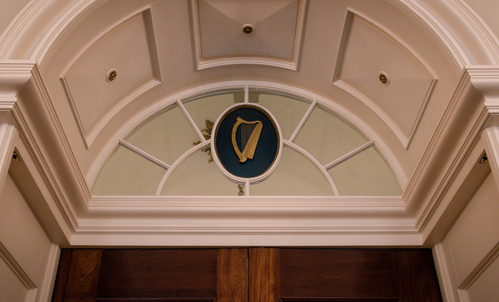 Fun Story! The harp is the national symbol of Ireland and the national color is blue not green! When the Republic of Ireland went to make the harp the symbol they discovered that Guinness had copyrighted that symbol over a hundred years earlier. So to satisfy this situation, Dublin's Government flipped the harp. If you look up Guinness, the harp faces the other way!