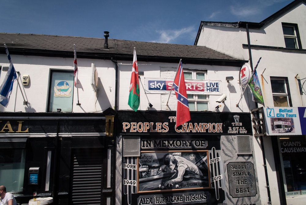 Okay so this is one of the most confusing parts of the Belfast visit. Outside of a bar on our way to the center of the city a confederate flag hung outside a pub.