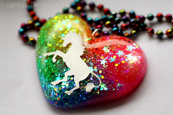 Unicorn Glitter Necklace from isewcute