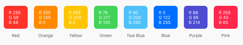 These are the colours that Apple use in iOS (presumably since the iOS7 flat-design refresh)