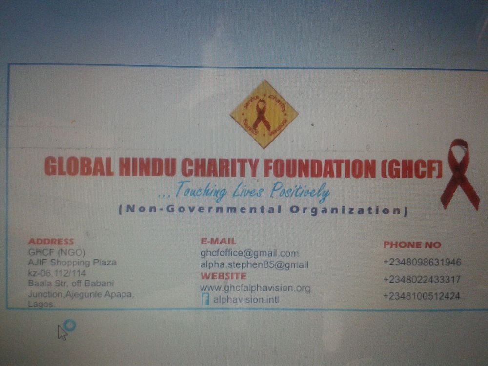 Alpha AIDS Vision Alliance (Global Hindu Charity Foundation) - Lagos, Nigeria.JPG
