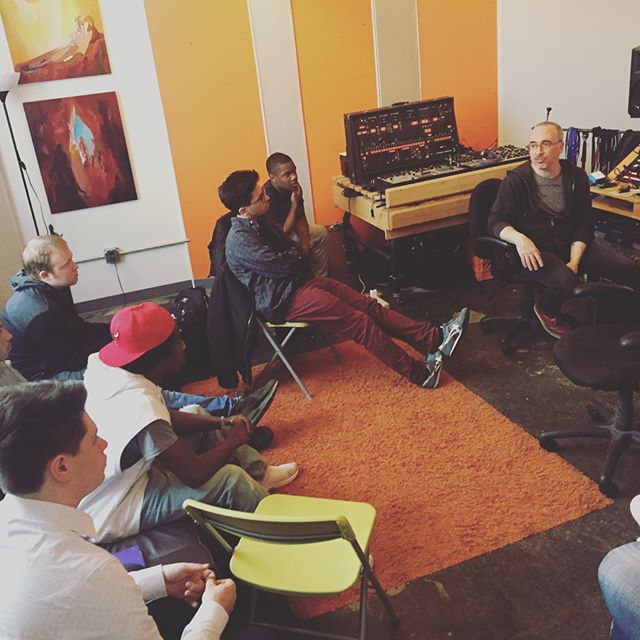In the orange room this week. Our apprentices get a studio tour of Tuff Sound Recording, learn the principals of acoustic treatment, and try out some hardware effect units with @soysostuffsoundrec #recordingstudio #audioengineering #education #steam @remakelearning