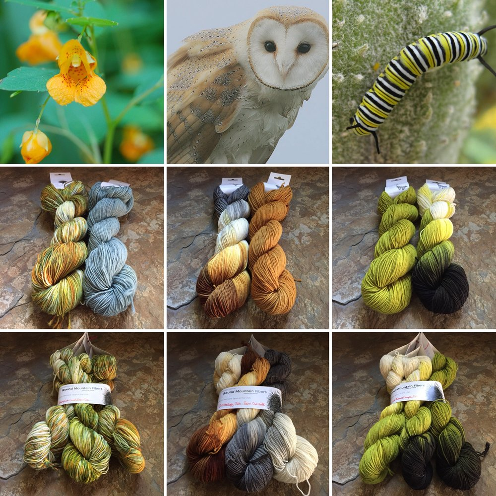 October 2017 Club (left to right) Jewel Weed & Jewel Weed Stem, Barn Owl & Owl Brown, and Caterpillar Green & Monarch Caterpillar .
