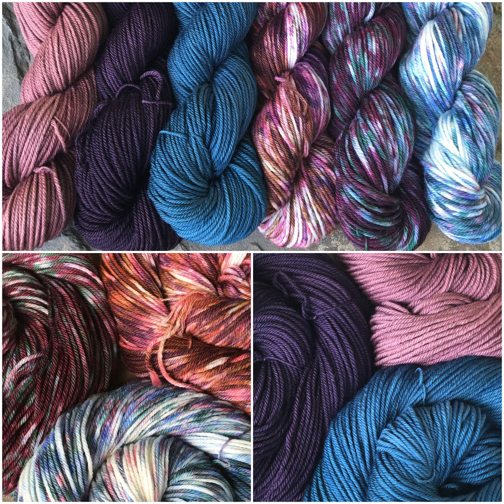 The NEW Worsted Kickstarter base dyed in some of our favorite Botany Collection colors! Available in Hopniss, Elderberry, Succulents, Hopniss Flower, Elderberry Purple, and Succulent Green.