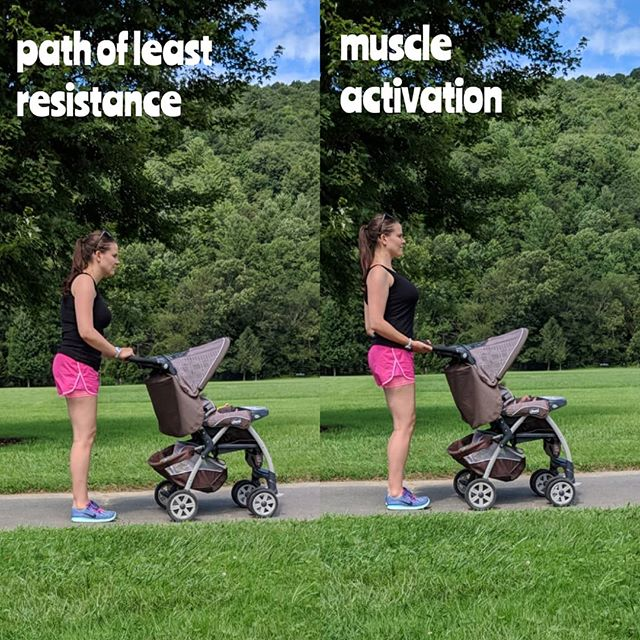 """💥UPGRADE YOUR WALK💥Here we have two examples of how one might walk. In my case, I'm pushing my baby girl in a stroller. You might be walking to the post office, between gates at the airport, or with your friends at the park. I am all about upgrading something you already do (like walking) into an even better form of exercise. Here's how to do it. ⠀⠀⠀⠀⠀⠀⠀⠀⠀⠀⠀⠀⠀⠀⠀ The first photo shows me taking the path of least resistance with regards to muscle activation. My feet are ducked out, and I'm locking my knees which not only strains them but also puts the pelvis in an over-rotated forward position. Doing this can cause L4 and L5 to take on unnecessary strain and my core to become disengaged. I am also gripping the stroller with my palms facing down, which means my back muscles are disengaged, and I'm throwing all my weight on the stroller, ribs compressing into my diaphragm downwards. It might as well be a walker the way I am using it here, but I digress. 😉 ⠀⠀⠀⠀⠀⠀⠀ In photo 2, my feet are straightforward (no ducking out), and my knees are softly bent and tracked towards the end of my toes. My center of gravity is in my heels- check our the difference in my feet from the first photo! I am thinking of my belly button pulling to the spine as I exhale while walking, which turns on the core and activates the transverse abs as well as deep core muscles. I am NOT merely """"sucking in"""" my tummy, as that won't activate the core fully. I am focusing on my belly button pulling IN towards the spine, and UP towards the sternum. ⠀⠀⠀⠀⠀⠀⠀⠀⠀⠀ I am pretending like there is a string pulling my head to the ceiling, which creates length in the cervical spine, and I am lifting my breastbone to the sky to get space from rib to hip, but without arching out the back and losing the core. (That's how you stretch fascia on the frontal plane.) My hands are gripping the stroller with palms facing UP, thumbs stretching to the side, which not only activates the lats, a hugely important muscle which goes f"""