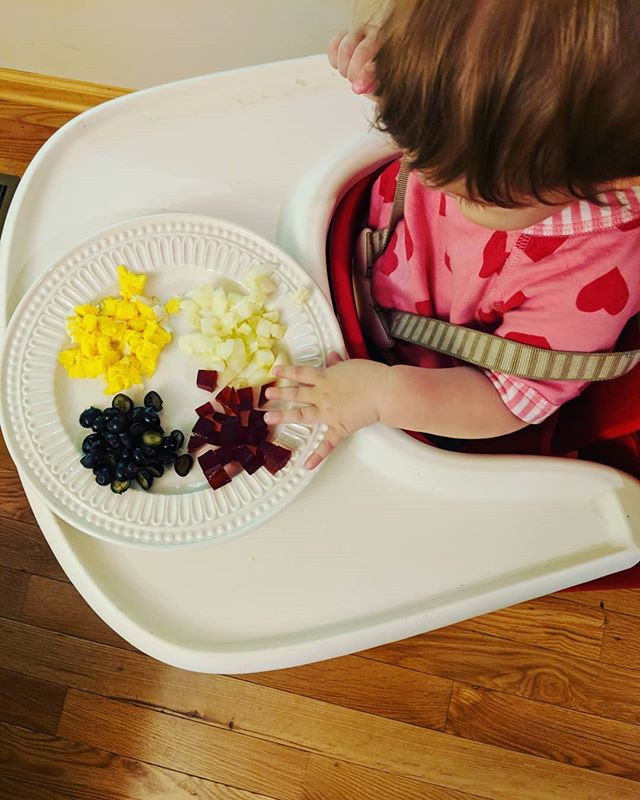 """Baby foods😍 This was her """"second breakfast, solid food edition."""" 😂 Featuring blueberries (her favorite thing right now) egg yolks, cucumber, grass fed gelatin fruit gummies, and cinnamon applesauce spiked with liver paté. 😜 ⠀⠀⠀⠀⠀⠀⠀⠀⠀⠀⠀⠀ I try to offer a variety and inevitably, she leaves one thing on the plate untouched. We started 3 months ago with liver paté, bone marrow and avocado. I wanted to get as much bioavailable iron in her as possible at 6 months, which is when it's been shown that babies are slightly anemic. And funny enough, she naturally gravitated towards those foods. Now, at 9 months, we still do liver/marrow but right now she's stuck on fruit and sweet potatoes, which is also fine by me😜 Babies are the best intuitive eaters by far. ⠀⠀⠀⠀⠀⠀⠀⠀⠀⠀⠀⠀⠀⠀⠀ She's not allergic to anything, though I haven't decided what to do about dairy yet, as she has a family history on her Dad's side of the family for dairy intolerance. Good quality, low processed dairy for starting a baby with is hard to come by in this state (I'm looking at you, North Carolina)🙄"""