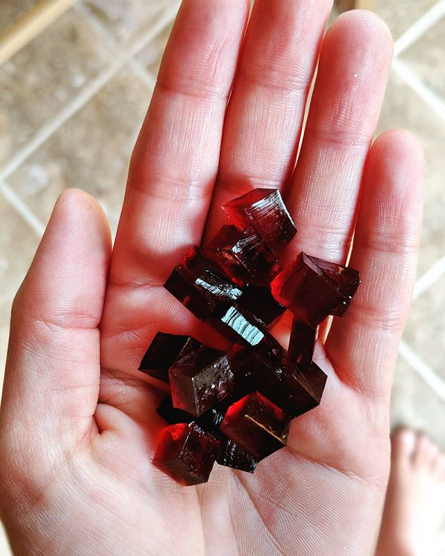 "🍒RECIPE POST!🍓 ⠀⠀⠀⠀⠀⠀⠀⠀⠀⠀⠀⠀⠀⠀⠀⠀⠀⠀⠀⠀⠀⠀⠀⠀ Not candy- these little gems are GUMMIES! Elderberry gummies, to be exact. Takes less than 5 minutes to make (not including set time) and are a delicious way to get nourishing gelatin to the gut and elderberry to help aid immunity!💪💪 ⠀⠀⠀⠀⠀⠀⠀⠀⠀⠀⠀⠀⠀⠀⠀⠀⠀⠀ One of my favorite studies on the effectiveness of Sambucus Nigra was done by Dr. Madeleine Mumcuoglu, of Hadassah-Hebrew University in Israel. Her study showed that active compounds in elderberry have the ability to disarm the enzyme viruses that try to penetrate healthy cells in the lining of the nose and throat. Taken before infection, it prevents infection. Taken after infection, it prevents spread of the virus through the respiratory tract. In a clinical trial, 20% of study subjects reported significant improvement within 24 hours, 70% by 48 hours, and 90% claimed complete cure in three days. In contrast, subjects receiving the placebo required 6 days to recover. I can personally attest to the effectiveness of elderberry! ⠀⠀⠀⠀⠀⠀⠀⠀⠀⠀⠀⠀⠀⠀⠀⠀⠀⠀⠀⠀⠀ Here's how I make these simple and delicious treats!⠀⠀⠀⠀⠀⠀⠀⠀⠀⠀⠀⠀⠀⠀⠀⠀ ✨IMMUNE GUMMIES✨ 1 cup unsweetened fruit juice concentrate (cherry, apple, or pomegranate juice are a few of my favorites)  3 Tablespoons elderberry concentrate  2 1/2 Tablespoons beef gelatin (Great Lakes is on Amazon prime 🙌) Heat juice until it just begins to simmer. Whisk in gelatin a little at a time until blended. Pour into a 8x8 dish or gummy molds and refrigerate until set. Cut into squares. Enjoy! 👉TIP: If you like them a little more ""gooey,"" use 1/2 Tablespoon less gelatin, more firm, use a 1/2 Tablespoon more.  P.S. if you want sour gummies with extra immune powers, dip 'em in vitamin c powder before serving.😍"