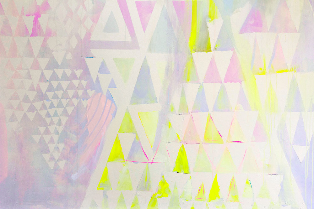 Close up detail of diamond abstract pastel mural with metallic paint and neon yellow highlights, triangles and geometric painted shapes.