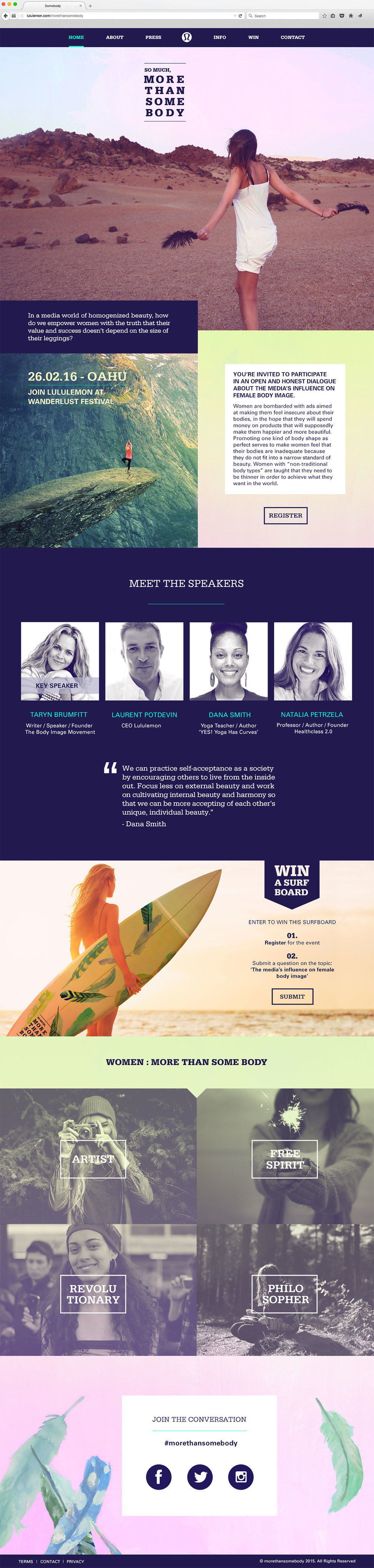 Lululemon event campaign website design concept, featuring pastel gradient, typesetting, homepage, navigation, event speakers bio and inspiring images of powerful women.