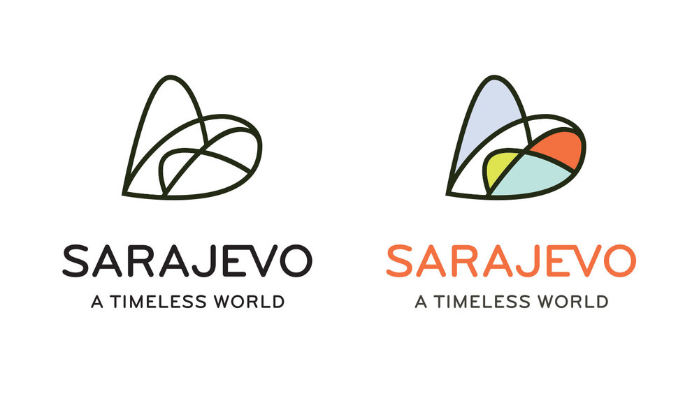 Graphic design logo example in color and black and white variants, Sarajevo city identity or a heart and bridge.