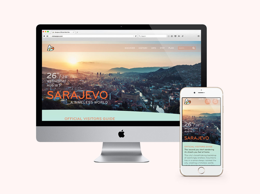 Graphic design, responsive design website example, featuring Sarajevo homepage desktop and phone app.