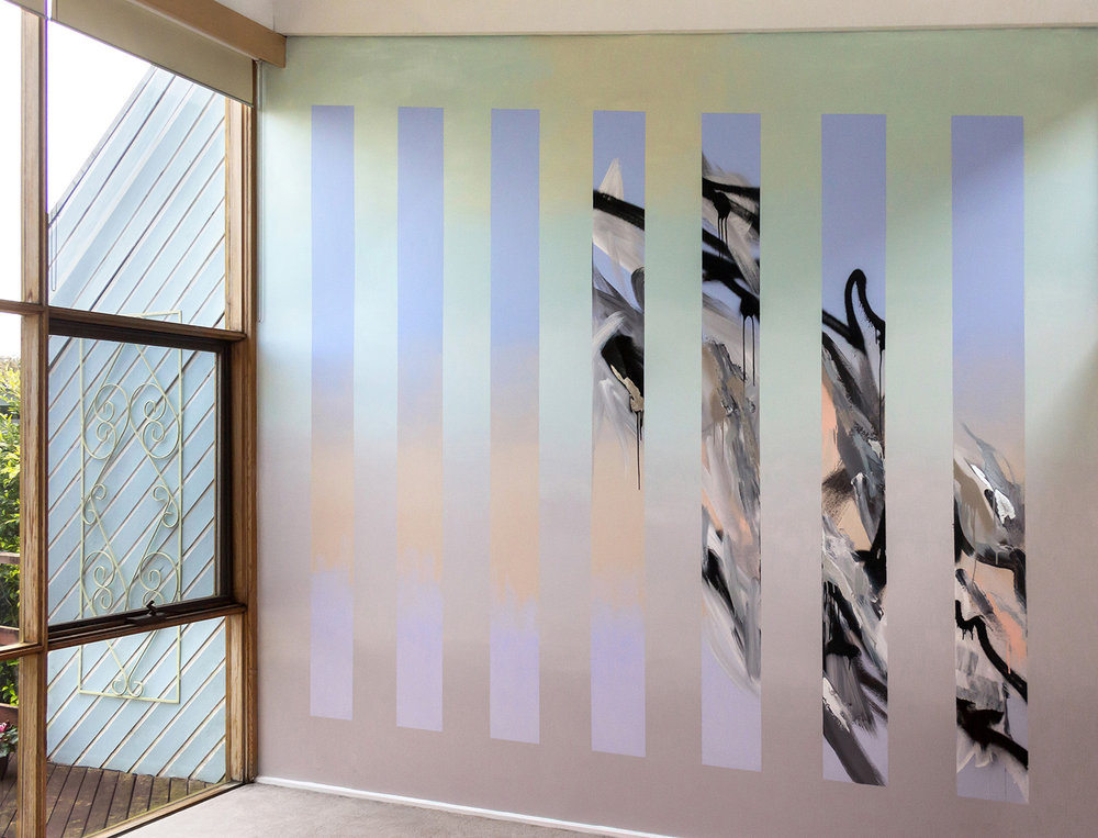 Abstract mural in living room with silver leaf and two different gradients in pastel colors, the contemporary painted design has movement and the energy of water.