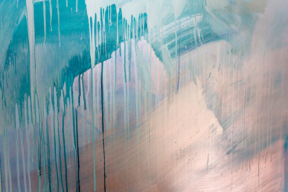 Artist Camille Javal detail of contemporary abstract ocean water mural in pastel blue, green and metallic paint, featuring a wave, drips and geometric shapes, the artwork has movement and reflects light.