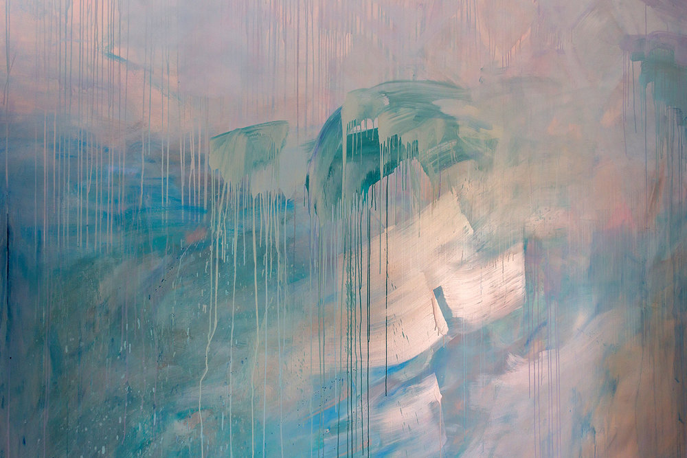 Artist Camille Javal detail of contemporary abstract ocean water mural in pastel blue, green and metallic paint, featuring a wave, drips and geometric shapes, the artwork has movement and reflects light in the living room.