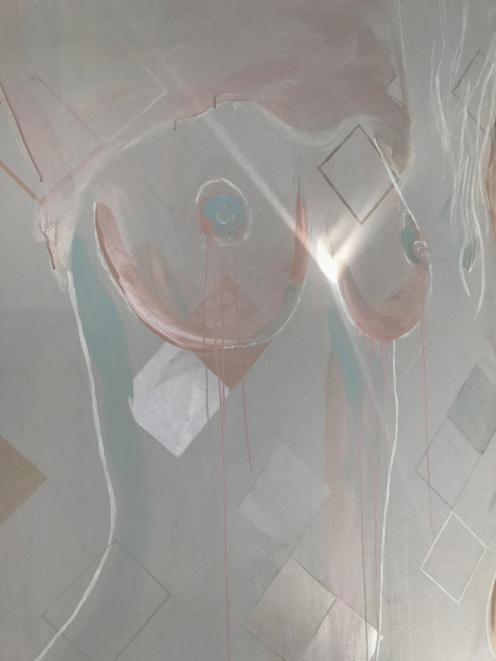 Close up of topless woman mural - female is taking her top off and exposing her naked breasts. Painted in pastel and metallic colours, light illuminates the woman's heart.