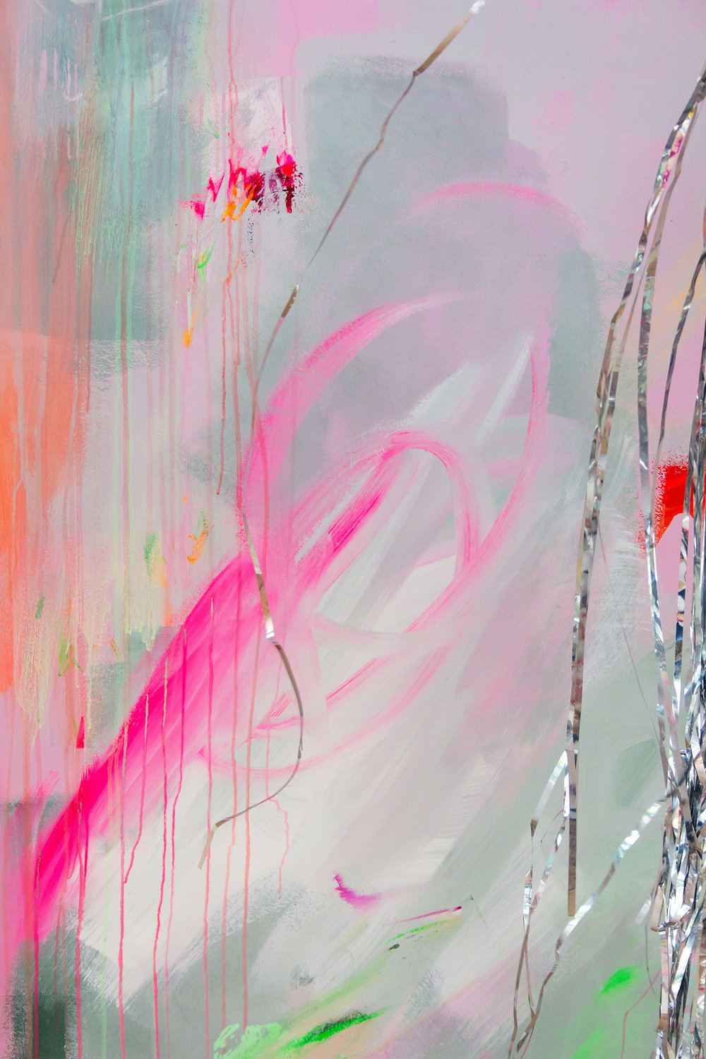 Vibrant abstract mural in pink and pastel colours. A silver metallic curtain peeks out from the side of the image.