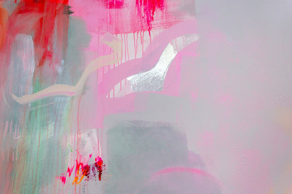 Close up of vibrant abstract mural in pink, green and pastel colours, two birds are highlighted.