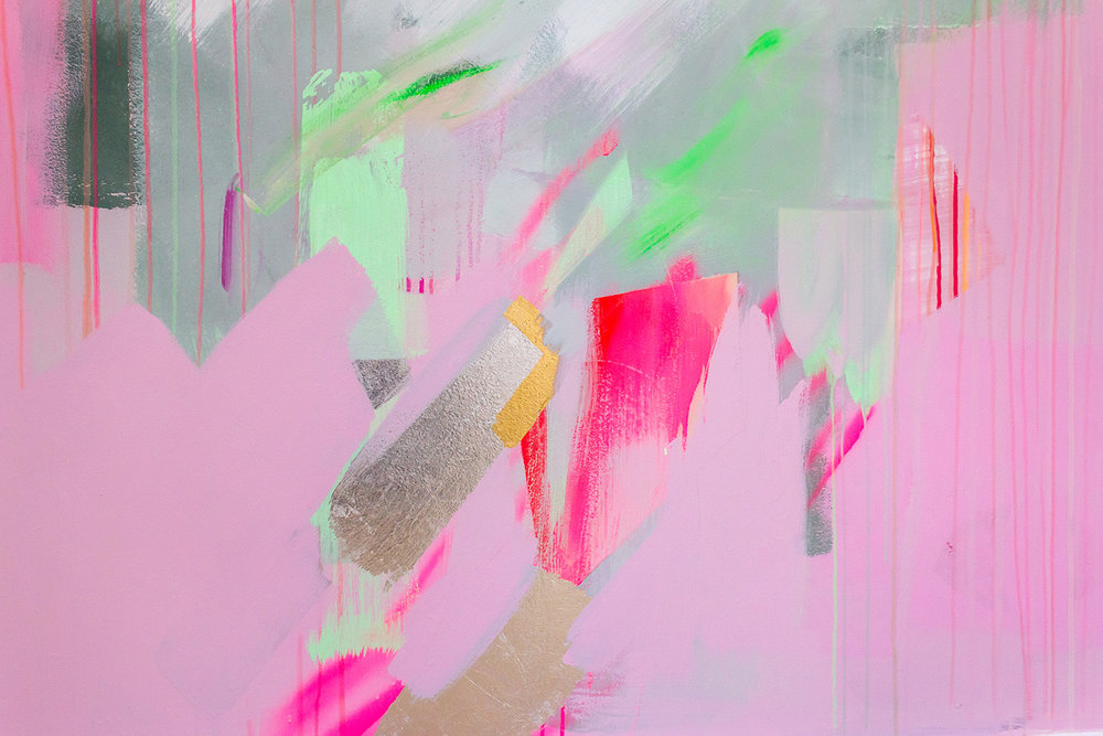 Vibrant abstract mural in pink, green and pastel colours, features gold and silver leaf shapes.