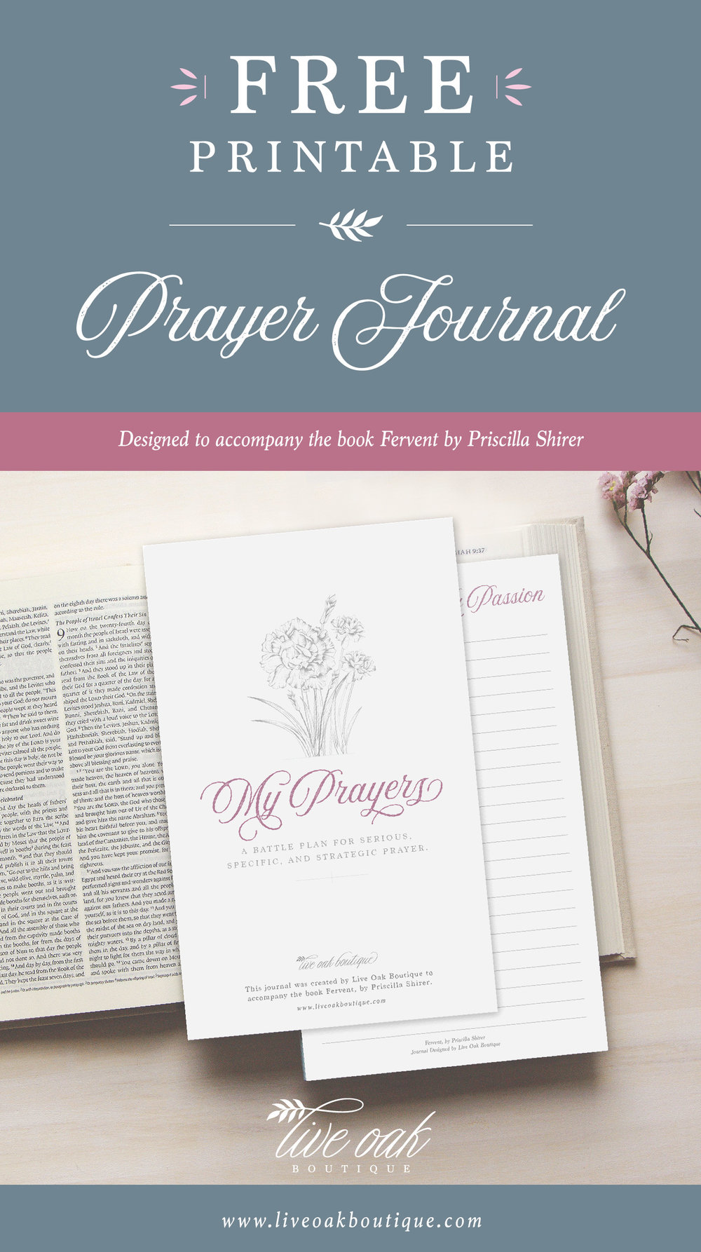 Free Prayer Journal Printable from Live Oak Boutique. www.liveoakboutique.com