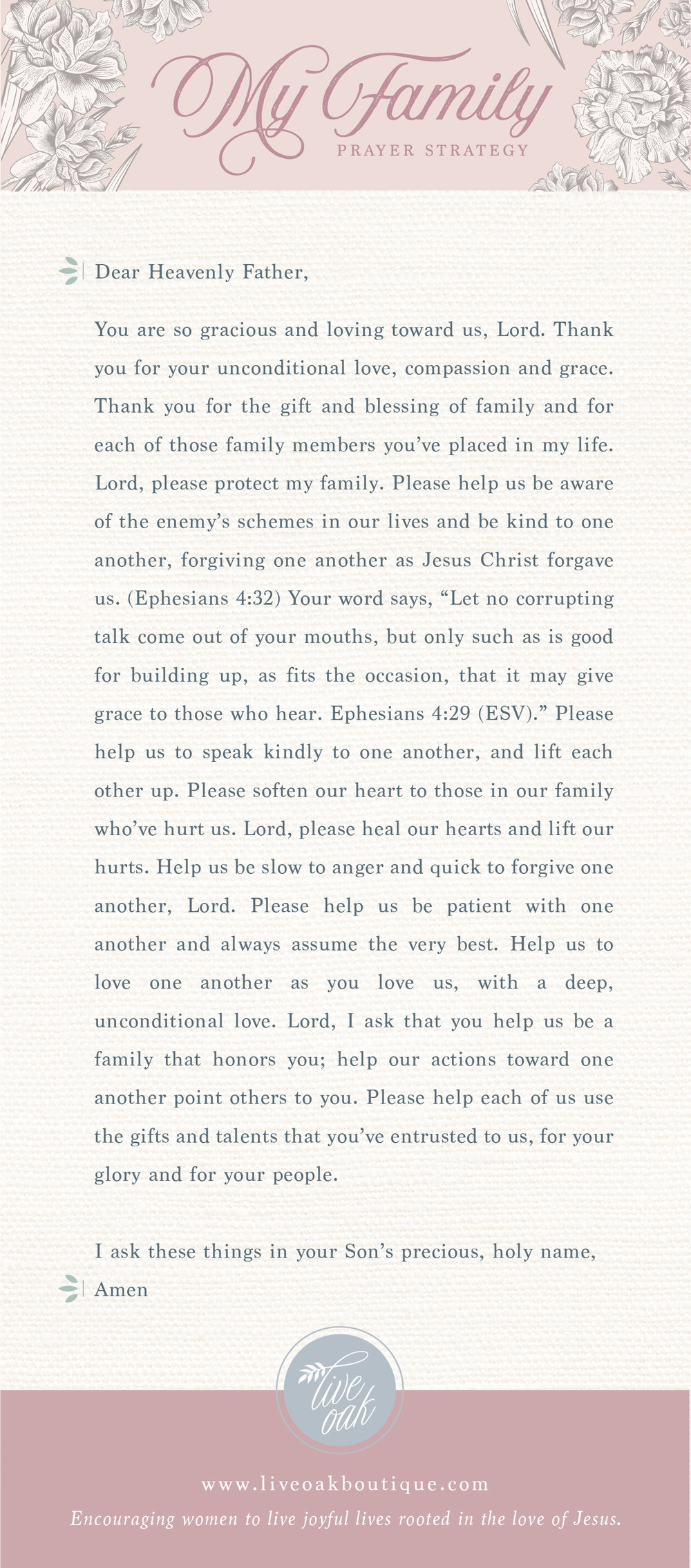 Prayer Strategy for Family from Live Oak Boutique. Stationery and gifts rooted in the love of Jesus! www.liveoakboutique.com