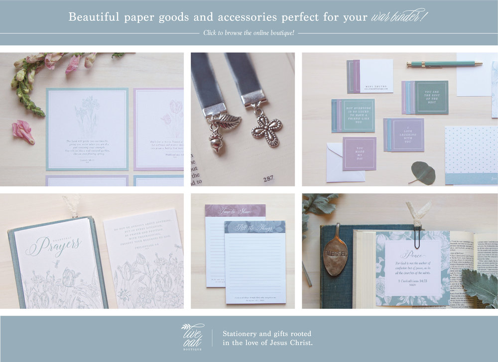 Beautiful stationery and gifts perfect for your war binder. Live Oak Boutique, www.liveoakboutique.com