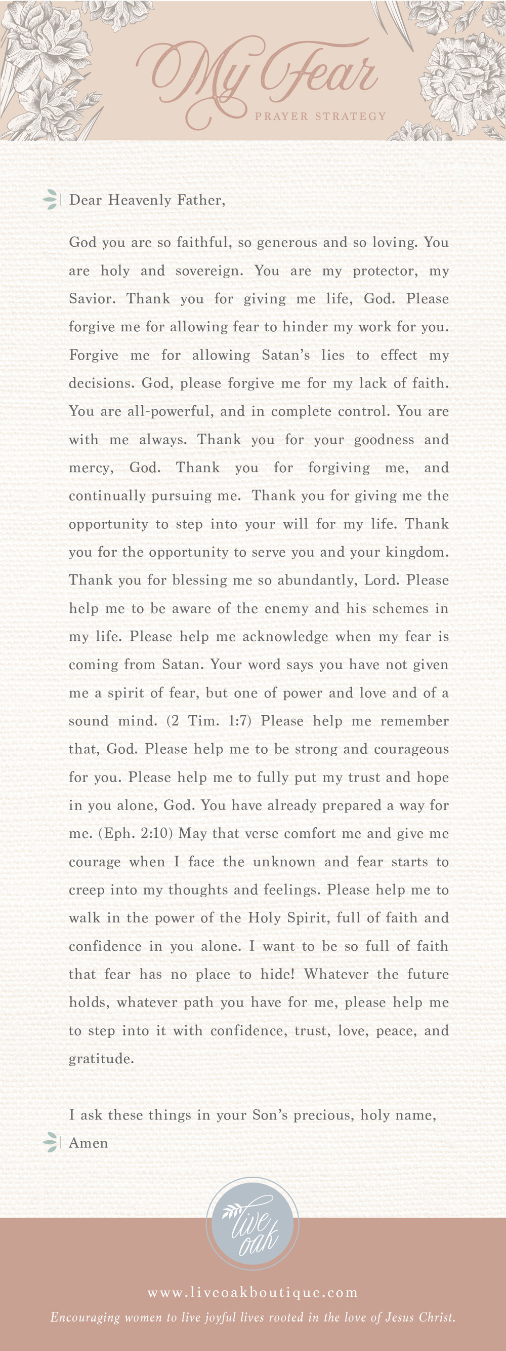 Prayer Strategy for Your Fears from Live Oak Boutique. Stationery and gifts rooted in the love of Jesus Christ! www.liveoakboutique.com