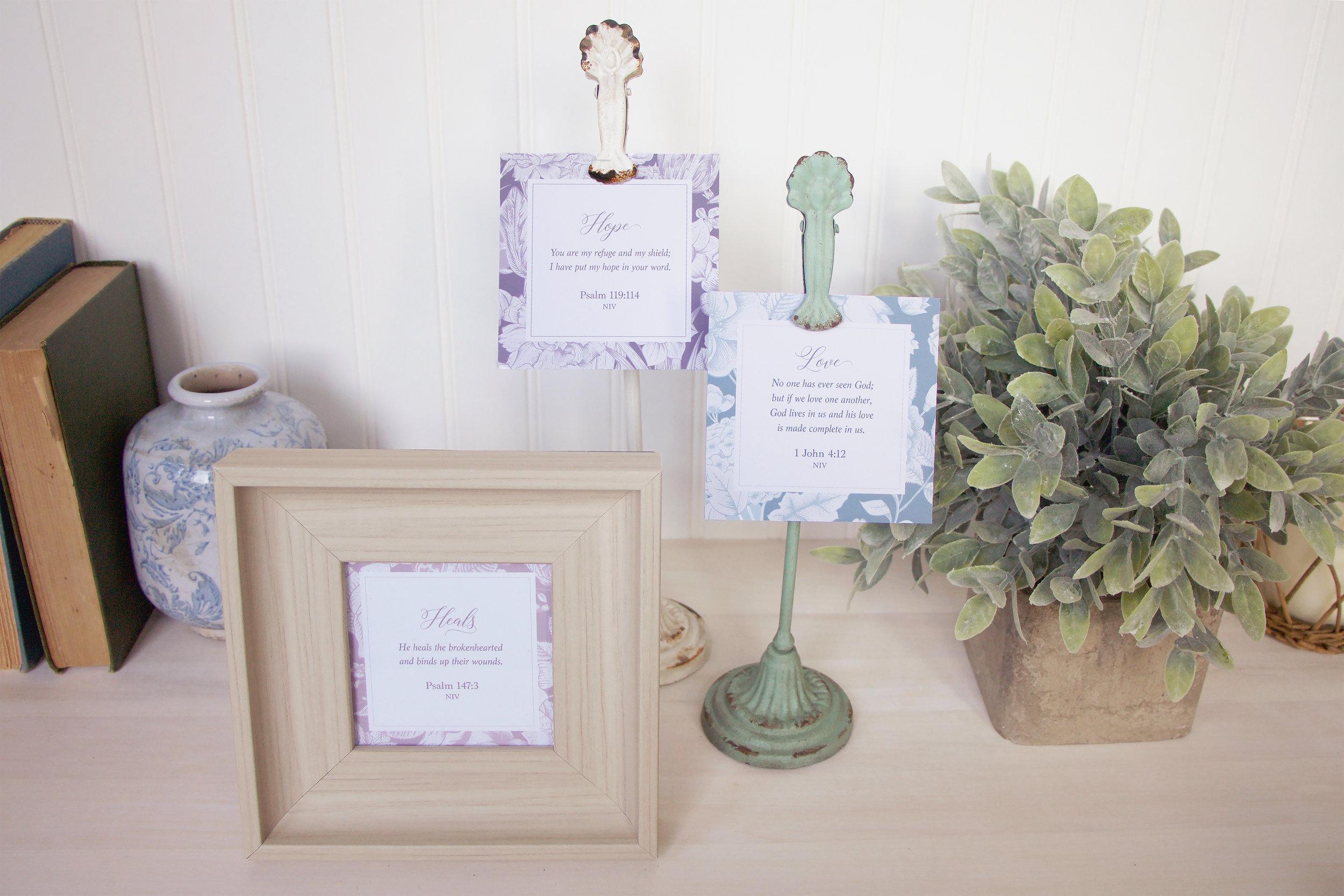 Floral Scripture Cards with Turquoise Clip Set — Live Oak Boutique