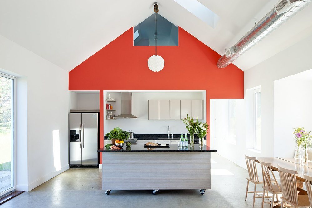 Kitchen with gable ceiling