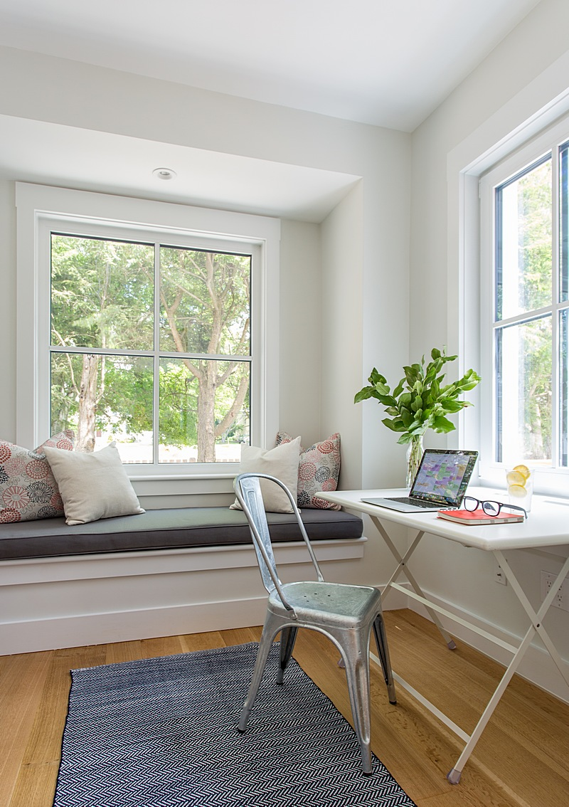 Office nook with built-in window seat
