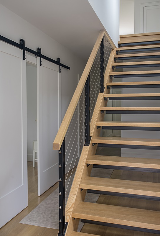 Modern staircase to lower level