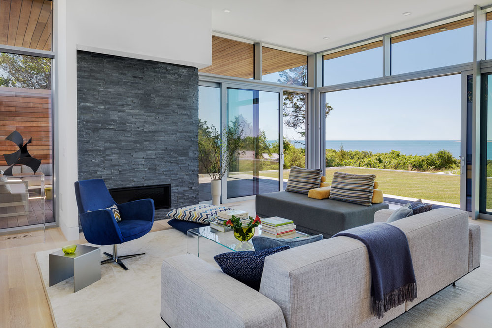Modern beachfront house living room