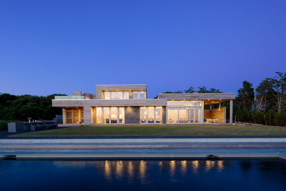 Modern waterfront home exterior