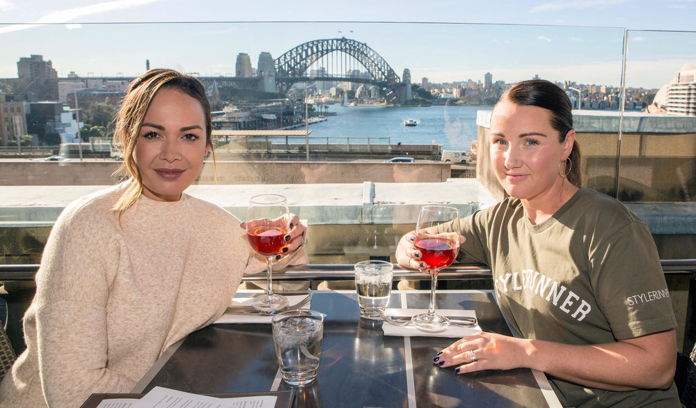 Great company: Stacey and I catching up over the incredible view at Cafe Sydney.