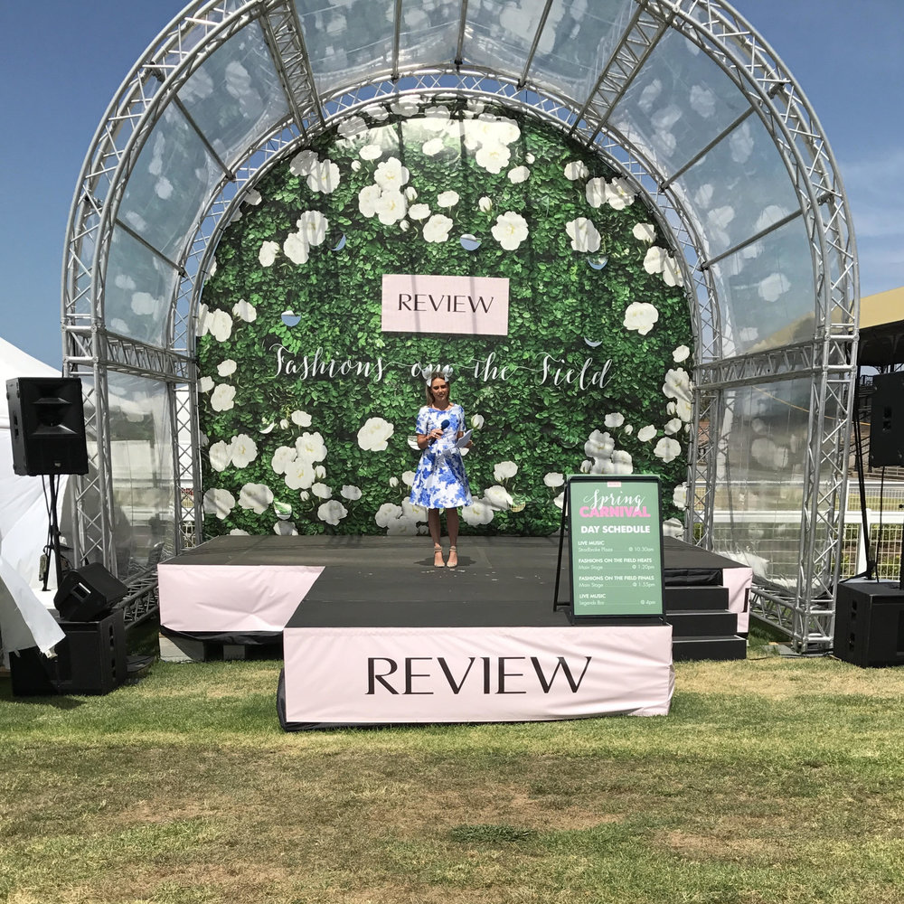 Sammie O'Brien MC'd the Review Fashions on the Field.