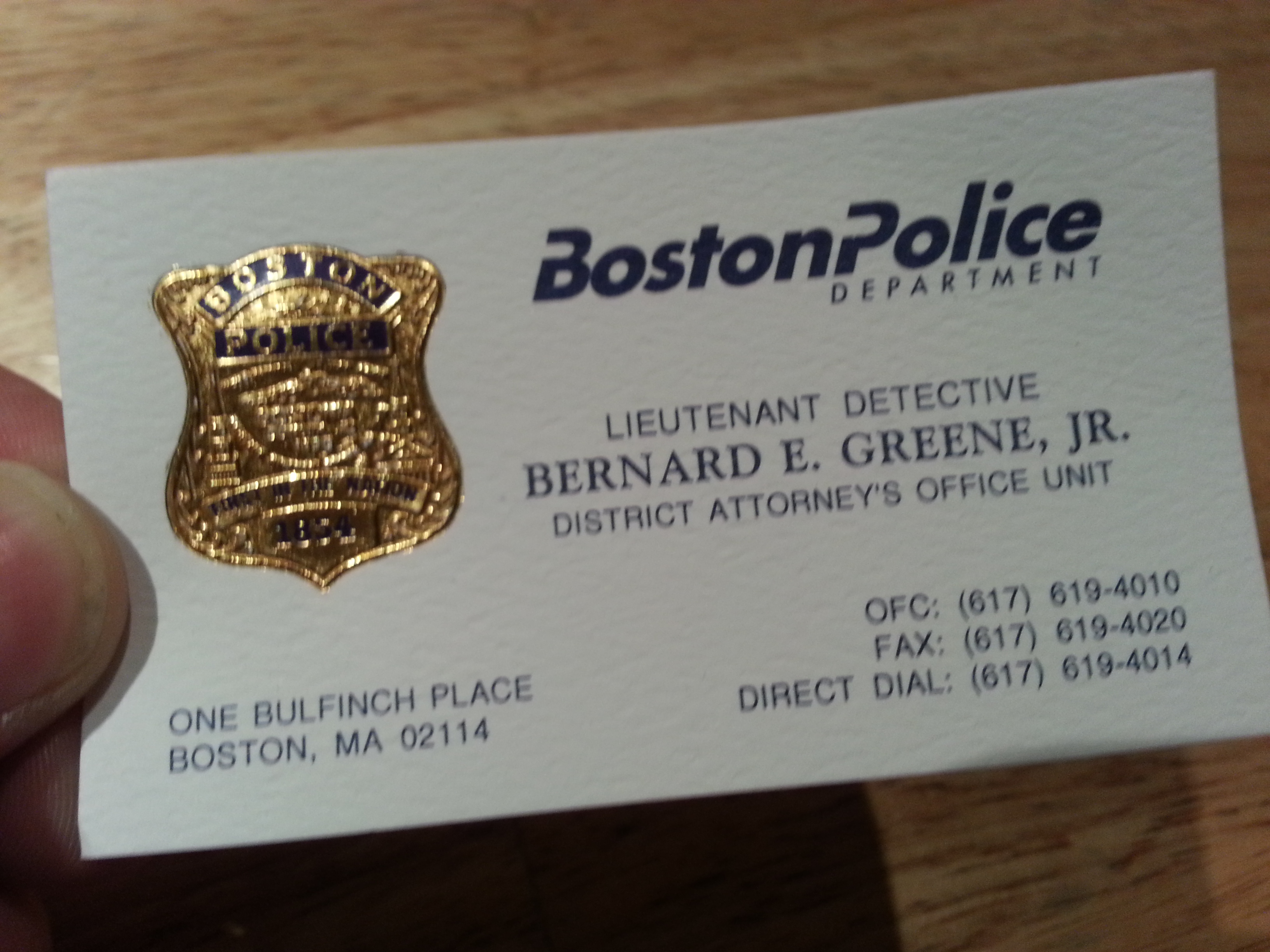 Lt. Det. Greene's business card