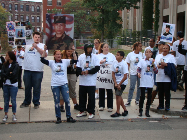 October 5, 2013: Jessica Spinney and other family members and supporters of Denis Reynoso rallied outside the Lynn Police Station to protest Reynoso's killing.