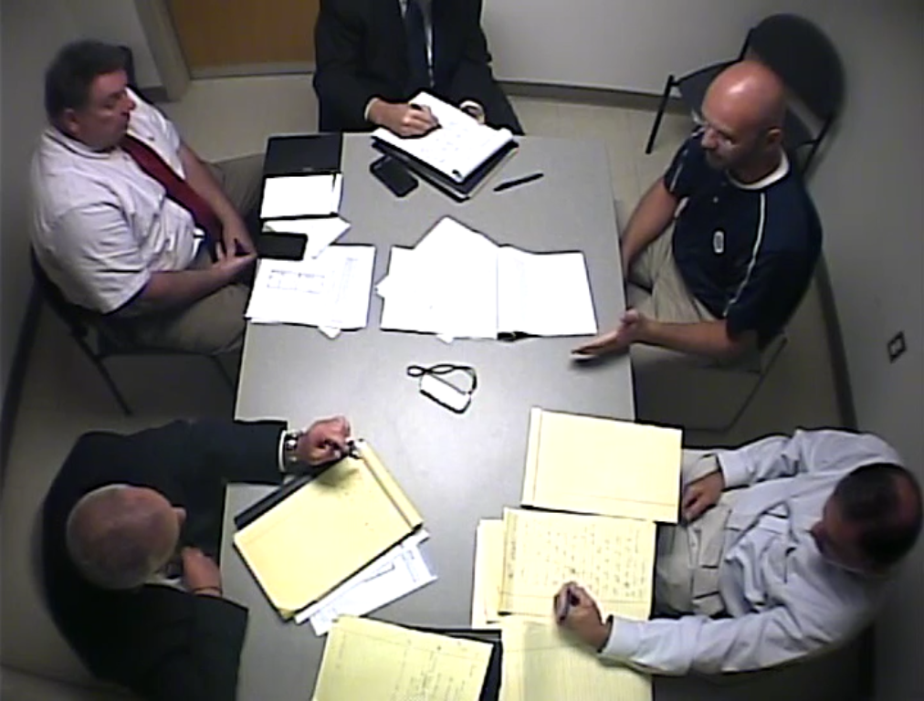 September 6, 2013: Lynn police officer Joshua Hilton (top right) is interviewed about the day he fatally shot Denis Reynoso