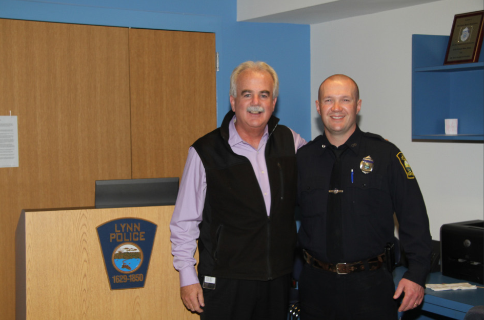 John Vautour (right) with Police Chief Kevin Coppinger (Credit: Lynn Police)